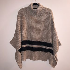 Tan Poncho with Black Stripes XS